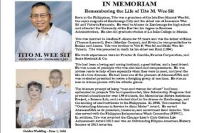 Remembering Tito M. Wee Sit