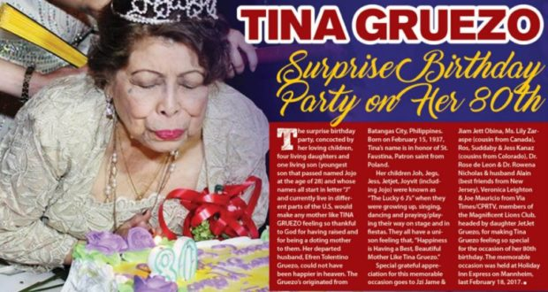 Tina Gruezo Surprise Birthday Party on her 80th | VIA Times – March