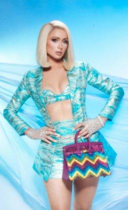 Paris Hilton wears a custom Dulce Bestia outfit for L'Officiel India